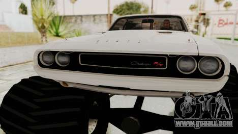 Dodge Challenger 1970 Monster Truck for GTA San Andreas back view