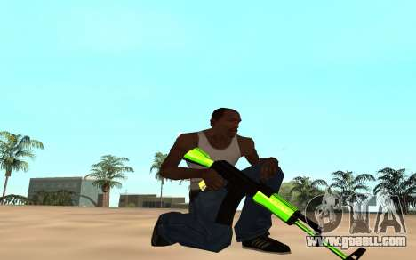 Green chrome weapon pack for GTA San Andreas fifth screenshot