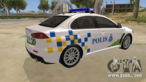 Mitsubishi Lancer Evolution X PDRM for GTA San Andreas right view