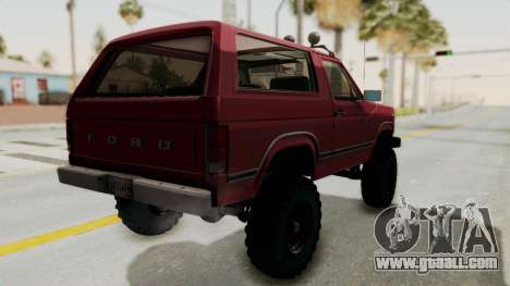 Ford Bronco 1985 Lifted for GTA San Andreas left view