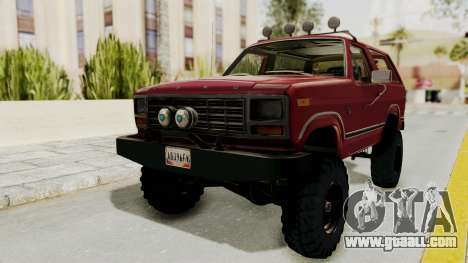Ford Bronco 1985 Lifted for GTA San Andreas right view