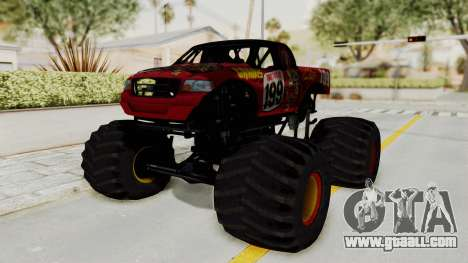 Pastrana 199 Monster Truck for GTA San Andreas back left view