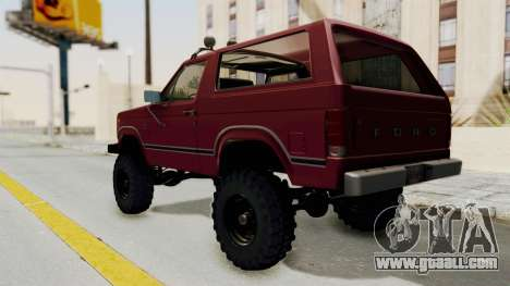 Ford Bronco 1985 Lifted for GTA San Andreas back left view