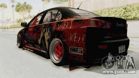 Mitsubishi Lancer Evolution X Ken Kaneki Itasha for GTA San Andreas left view