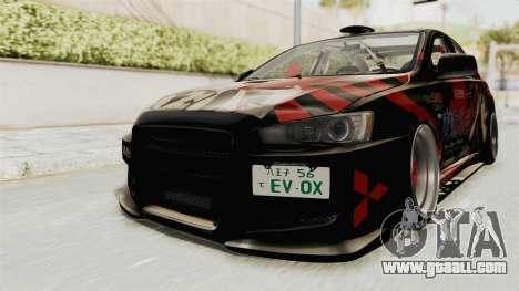 Mitsubishi Lancer Evolution X Ken Kaneki Itasha for GTA San Andreas