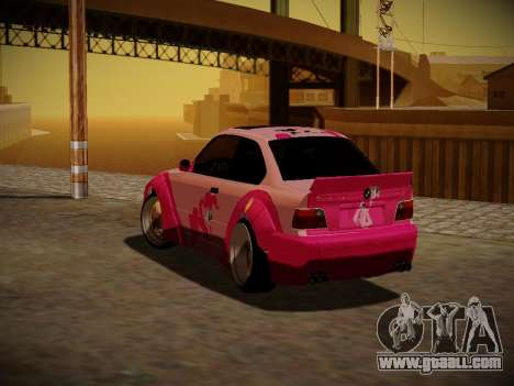 BMW M3 E36 Pinkie Pie for GTA San Andreas upper view