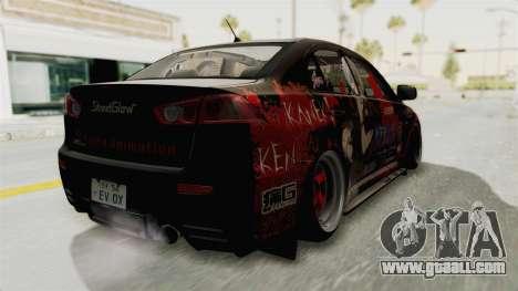 Mitsubishi Lancer Evolution X Ken Kaneki Itasha for GTA San Andreas back left view