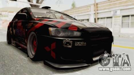 Mitsubishi Lancer Evolution X Ken Kaneki Itasha for GTA San Andreas right view