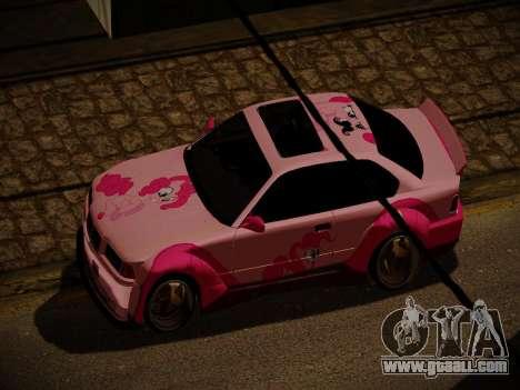 BMW M3 E36 Pinkie Pie for GTA San Andreas bottom view