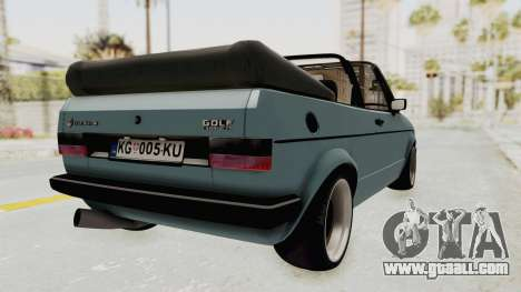 Volkswagen Golf 1 Cabrio VR6 for GTA San Andreas back left view