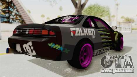 Nissan Silvia S14 Drift Monster Energy Falken for GTA San Andreas back left view