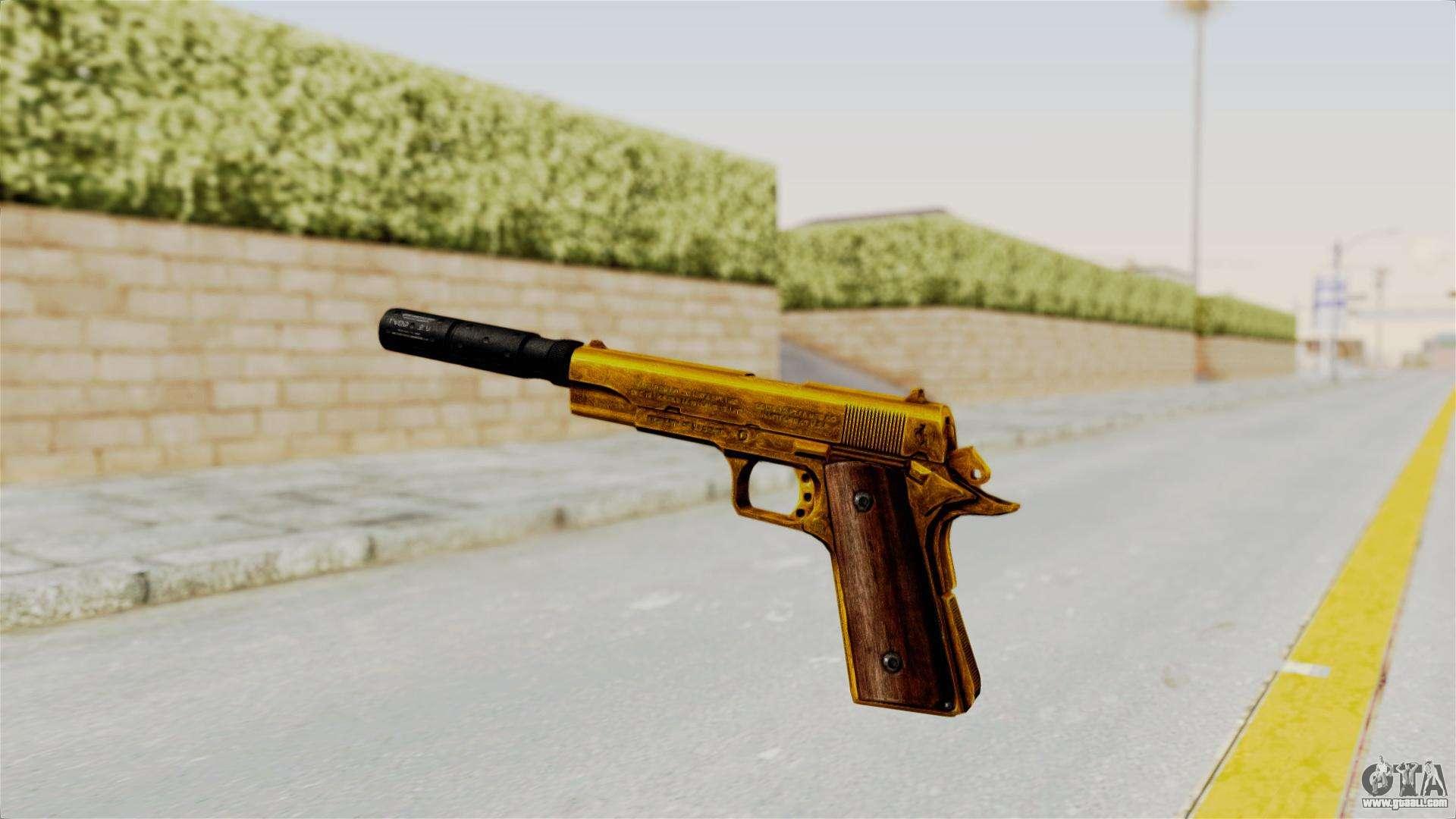 Silenced M1911 Gold for GTA San Andreas M1911 Silenced