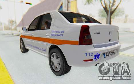 Dacia Logan Facelift Ambulanta for GTA San Andreas back left view