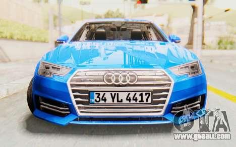 Audi A4 2017 HQLM for GTA San Andreas back view