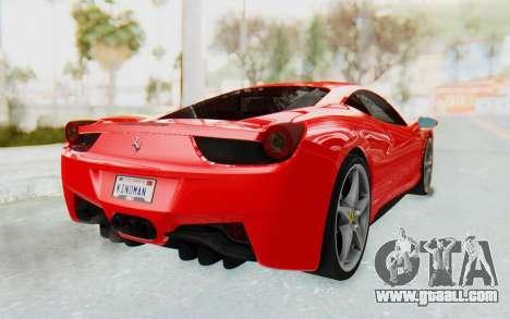 Ferrari 458 Italia F142 2010 for GTA San Andreas left view
