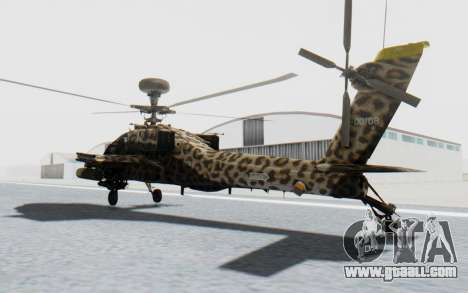 AH-64 Apache Leopard for GTA San Andreas back left view
