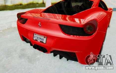Ferrari 458 Italia F142 2010 for GTA San Andreas upper view