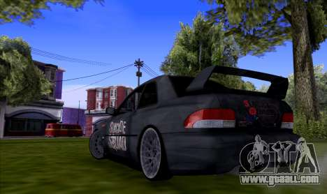 Subaru impreza 22B (SUICIDE SQUAD) for GTA San Andreas back left view