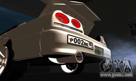 Nissan Skyline ER34 GT-R for GTA San Andreas inner view