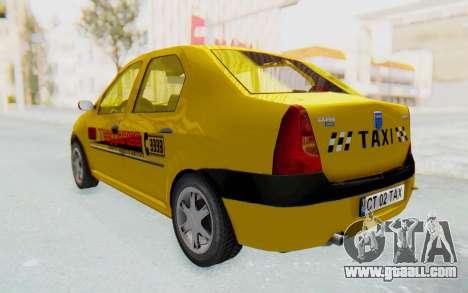 Dacia Logan Taxi for GTA San Andreas back left view