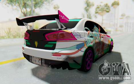 Mitsubishi Lancer Evo X Racing Miku 2016 Itasha for GTA San Andreas left view