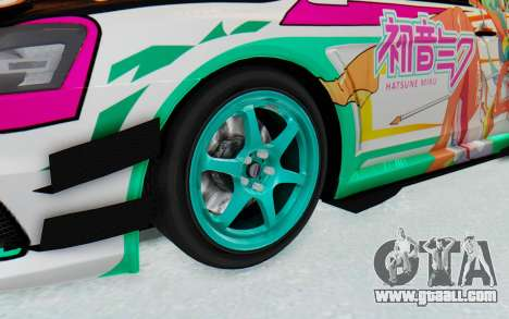 Mitsubishi Lancer Evo X Racing Miku 2016 Itasha for GTA San Andreas back view