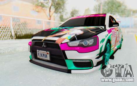 Mitsubishi Lancer Evo X Racing Miku 2016 Itasha for GTA San Andreas right view