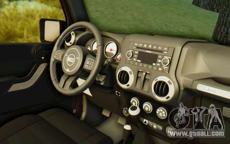 Jeep Wrangler Rubicon 2012 for GTA San Andreas inner view