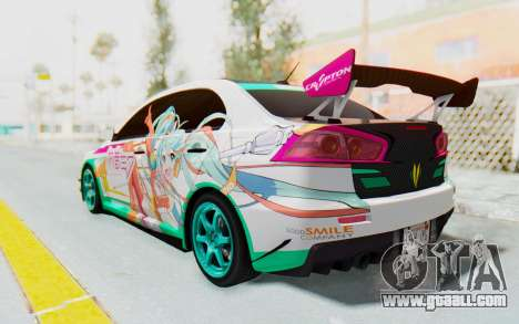 Mitsubishi Lancer Evo X Racing Miku 2016 Itasha for GTA San Andreas back left view