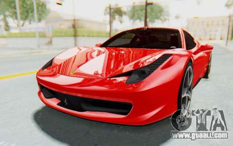 Ferrari 458 Italia F142 2010 for GTA San Andreas right view
