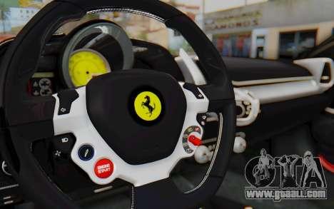 Ferrari 458 Italia F142 2010 for GTA San Andreas inner view