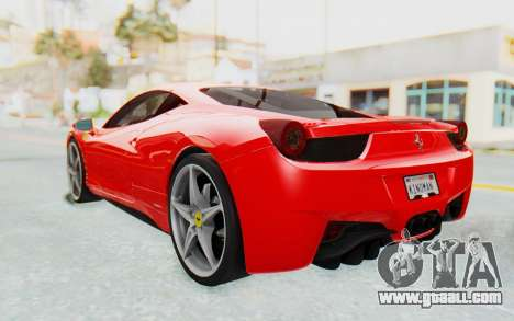Ferrari 458 Italia F142 2010 for GTA San Andreas back left view