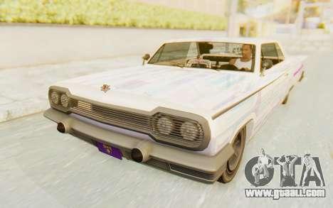 GTA 5 Declasse Voodoo SA Lights for GTA San Andreas upper view