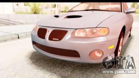 Pontiac GTO 2006 for GTA San Andreas upper view