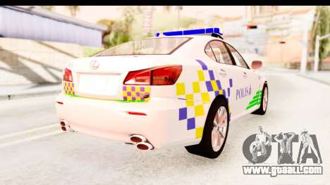 Lexus IS F PDRM for GTA San Andreas left view
