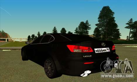 Lexus IS-F for GTA San Andreas back left view