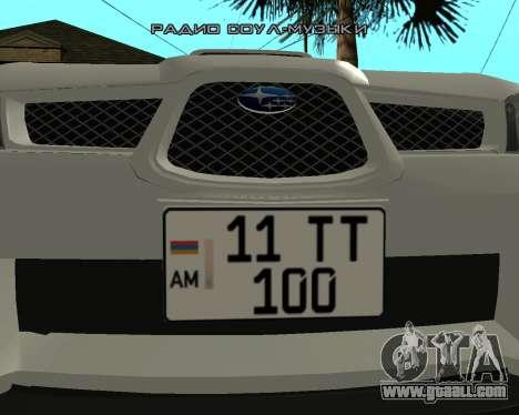 Subaru Impreza Armenian for GTA San Andreas back left view
