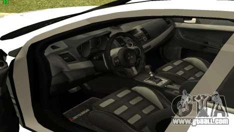 Mitsubishi Lancer X GVR for GTA San Andreas back view
