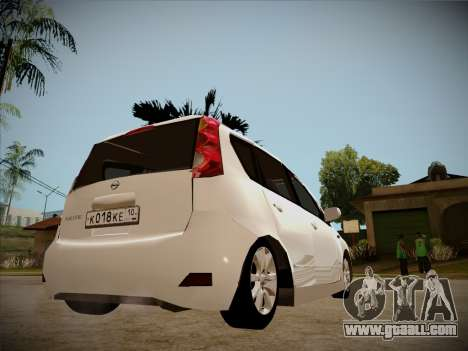 Nissan Note 2008 for GTA San Andreas upper view