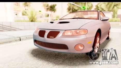 Pontiac GTO 2006 for GTA San Andreas back left view