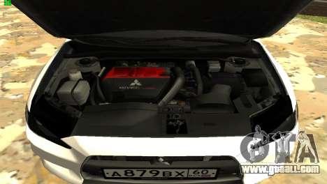 Mitsubishi Lancer X GVR for GTA San Andreas inner view