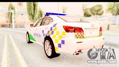 Lexus IS F PDRM for GTA San Andreas back left view