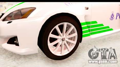 Lexus IS F PDRM for GTA San Andreas back view