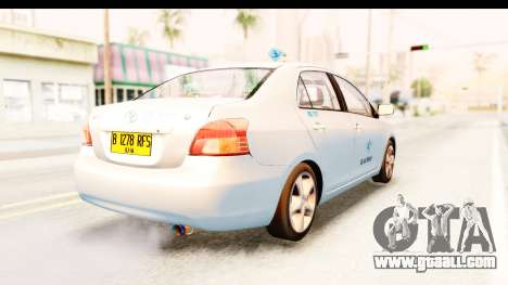 Toyota Vios 2008 Taxi Blue Bird for GTA San Andreas back left view