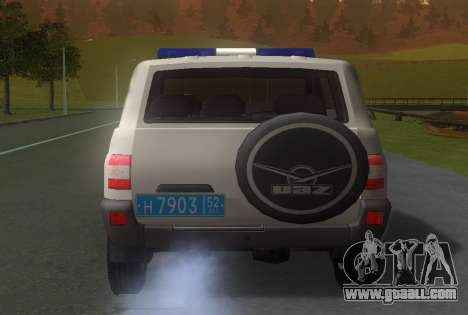 UAZ Patriot of the Police v1 for GTA San Andreas back left view