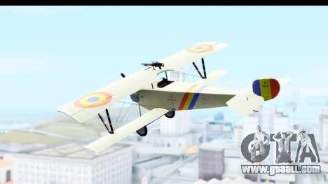 Nieuport 11 Bebe - Nr.865 Romania for GTA San Andreas left view
