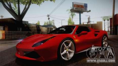 Ferrari 488 Spider for GTA San Andreas inner view