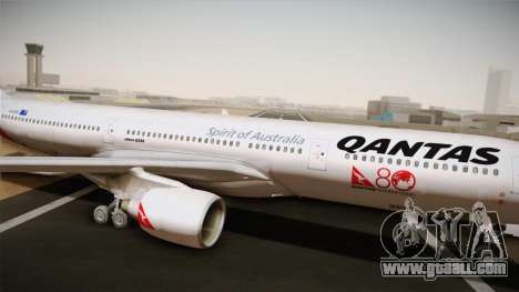 Airbus A330-300 Qantas 80 Years for GTA San Andreas back left view