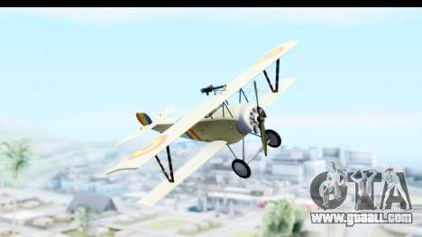 Nieuport 11 Bebe - Nr.865 Romania for GTA San Andreas back left view