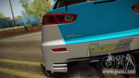 Mitsubishi Lancer Evolution X 2008 Racing Miku for GTA San Andreas right view